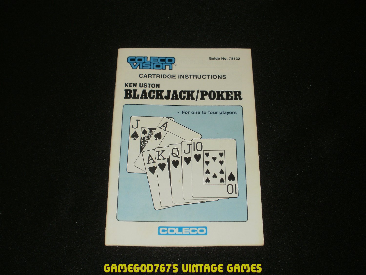 Ken Uston Blackjack Poker - ColecoVision - 1983 Manual Only