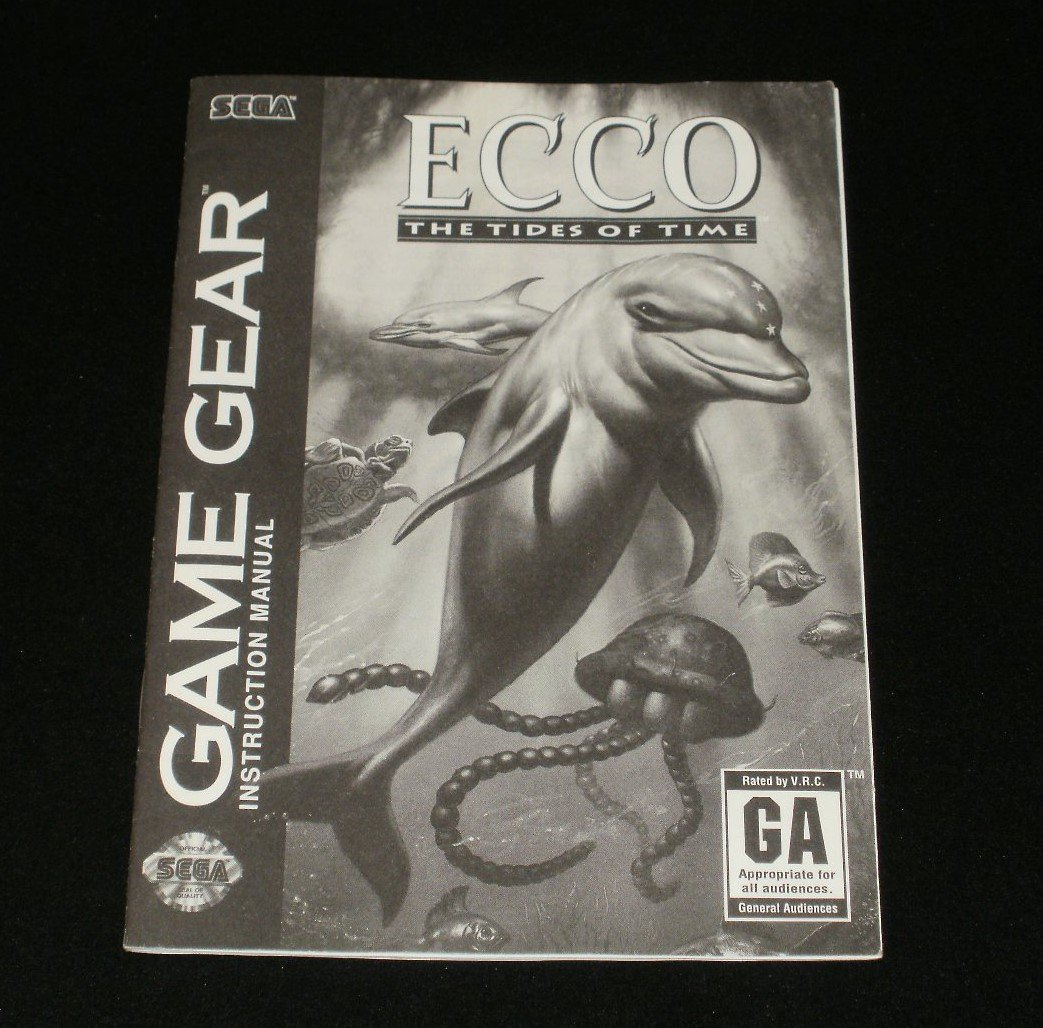 Ecco the Dolphin - Sega Game Gear - 1994 Manual Only