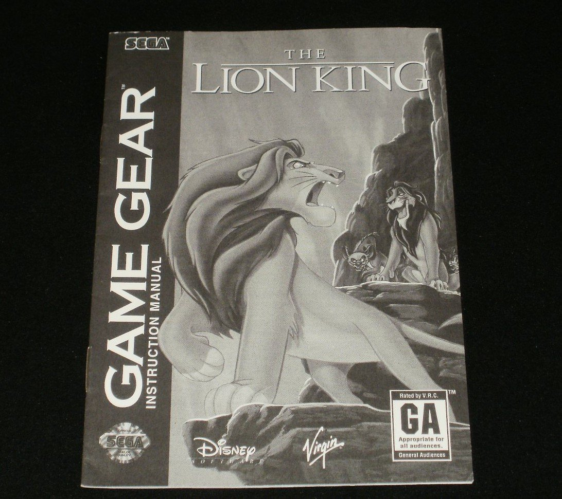 Lion King - Sega Game Gear - 1995 Manual Only
