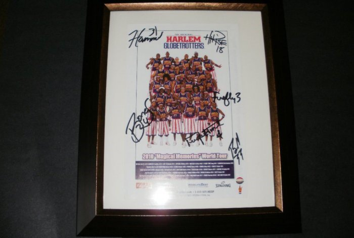 Harlem Globetrotters 2010 World Tour Framed Autographed Flyer