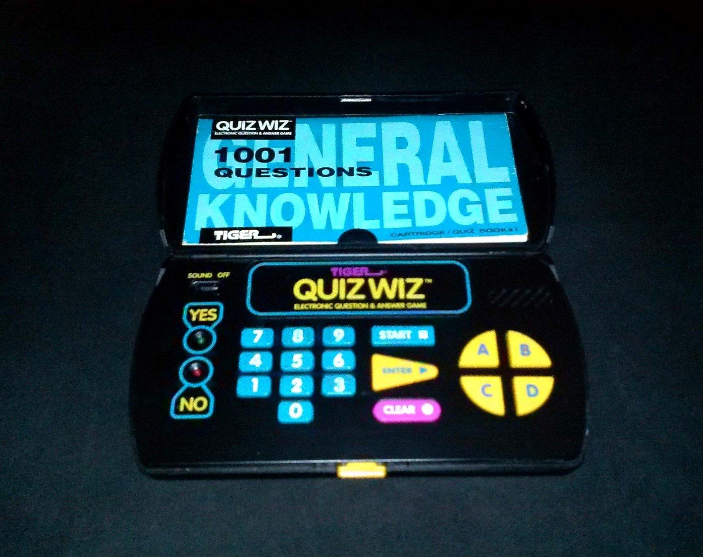 Quiz Wiz - Vintage Handheld - Tiger Electronics 1993 - With General Knowledge Book & Cartridge