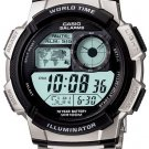 Casio World Time Watch with World Map AE1000WD-1 Steel New