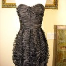 BCBG STRAPLESS BLACK RUFFLE CHIFFON DRESS NWT S $318