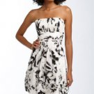 $458 BCBG BLACK WHITE DRESS WITH POP-OUT FLOWERS 4 NWT