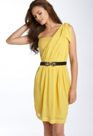 $398 BCBG MAXAZRIA ONE SHOULDER YELLOW TAFFETA DRESS 4