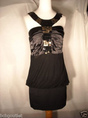SEXY PARTY TOP WITH SEQUIN BUBBLE HEM LINED Size M NWT