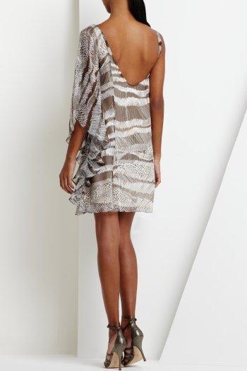$348 BCBG OneShoulder Cocoa Chiffon Rhinestone Dress 10