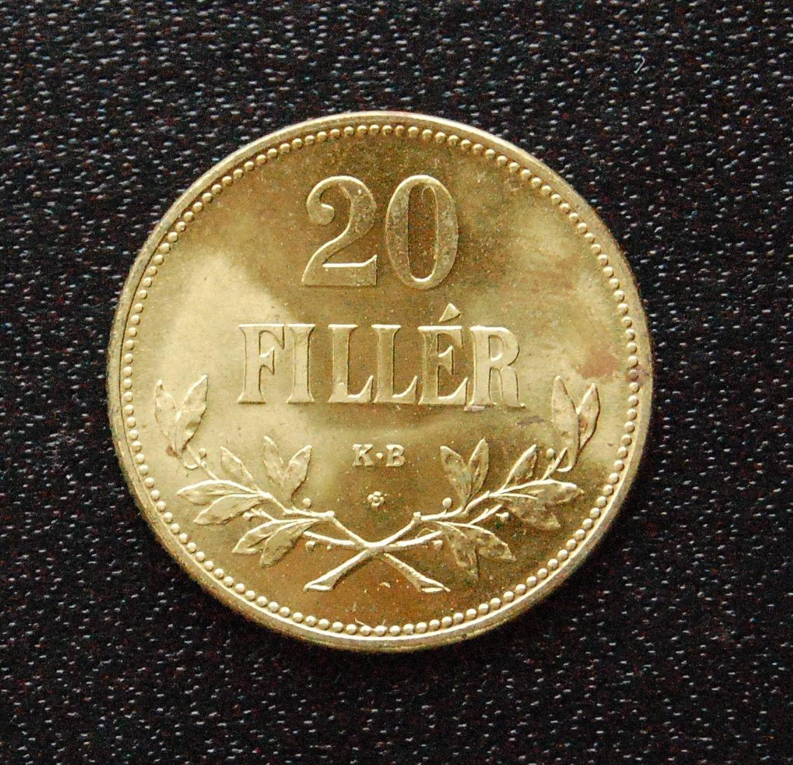 1922 20 filler Brass Restrike Hungary