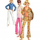 Sassy Mod '66 Hip Hugger Bell Bottom Pants, Bra Top, Shirt Simplicity 6501 Vintage Pattern Bust 34