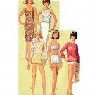 Sassy Mod 1965 Go Gidget High Waist Bikini, Sheath Dress and Top UNCUT Bust 34 Simplicity 5978