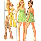 Sassy Mod '69 Bikini, Hip Huggers, Apron Top Simplicity 8199 Vintage Pattern Bust 32.5