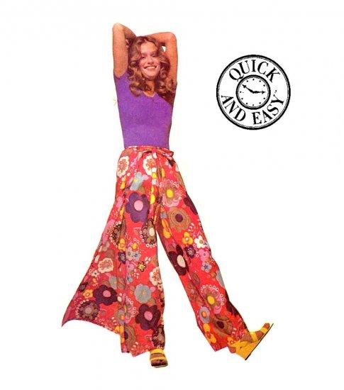 Sassy Mod Wrap Around Pantskirt McCall's 3230 Vintage 70s Pattern Sz Medium