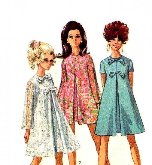 Sassy Mod 1960s Mini Tent Dress Simplicity 7585 Vintage Pattern Bust 32.5
