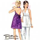 Sassy Mod 60s Backless Halter Dress and Pants Butterick 5512 Vintage Pattern Bust 36