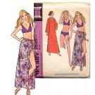 Sassy Mod 70s Bikini, Sarong and Caftan McCalls 2896 Vintage Pattern Bust 32