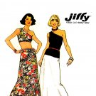 Sassy 70s Jiffy One Shoulder Midriff Top, Skirt Vintage Pattern Simplicity 6463 Bust 31.5