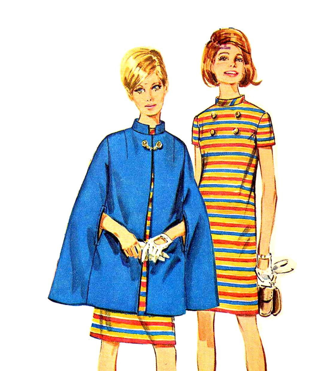 Sassy Mod 60s Nehru Collar Cape and Dress Vintage Simplicity 7391 Pattern Bust 31