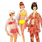 Sassy Mod 60s Bikini, Beach Shirt and Pencil Leg Pants, Bust 36 McCall's 8314