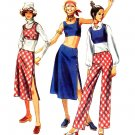 Mod 70's Jiffy Hip Hugger Pants, Skirt and Midriff Top Vintage Simplicity 9314 Bust 34