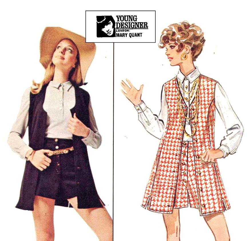 60s Mod Hot Pants and Long Vest Mary Quant Butterick 5476 Vintage Sewing Pattern B38