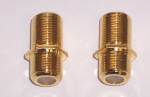 F Type Barrel Connectors, Gold Series. 2 Pack