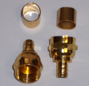 RG-59, F Type Crimp on Connectors, Gold Series, 2 in pack.