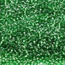 Silver Lined Green 11/0 Glass Seed Beads 30 grams