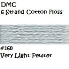 DMC 6 Strnd Cotton Embroidery Floss Very Light Pewter 168
