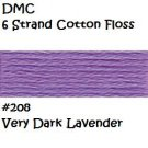 DMC 6 Strnd Cotton Embroidery Floss Very Dark Lavender 208