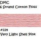 DMC 6 Strnd Cotton Embroidery Floss Very Light Shell Pink 224