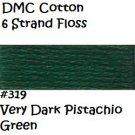 DMC 6 Strnd Cotton Embroidery Floss Vry Dk Pistachio 319
