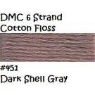 DMC 6 Strnd Cotton Embroidery Floss Dk Shell Gray 451