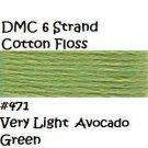 DMC 6 Strnd Cotton Embroidery Floss Vry Lt Avocado Green 471