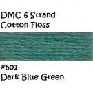 DMC 6 Strnd Cotton Embroidery Floss Dk Blue Green 501