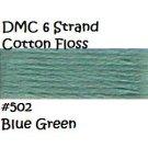 DMC 6 Strnd Cotton Embroidery Floss Blue Green 502
