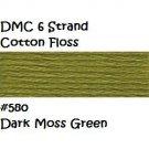 DMC 6 Strnd Cotton Embroidery Floss Dark Moss Green 580