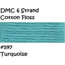 DMC 6 Strnd Cotton Embroidery Floss Turquoise 597