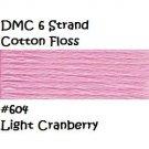 DMC 6 Strnd Cotton Embroidery Floss Light Cranberry 604