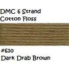 DMC 6 Strnd Cotton Embroidery Floss Dark Drab Brown 610