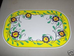 Spanish Floral Tile Placemats Set of 4 NEW Yellow