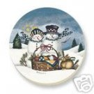 Heavenly Peace Snowman Family Coasters 4 Stoneware NEW