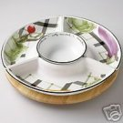 Pfaltzgraff City Market Lazy Susan w/wooden base NEW