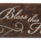 Inspirational Plaque Bless This Home Leather Look NEW