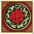 Poinsettia Etched Glass Coasters 4 w/Holder NEW USA