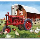 Barnyard Farm Tractor Chickens Cutting Board NEW Glass