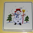 Pfaltzgraff Snow Village Burner Covers 4 Snowman NEW Sq