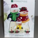 International Silver Snowman Family Glass Votive Stain