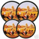 Rooster Chickens Stovetop Burner Covers 4 NEW 4-008