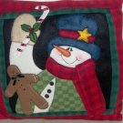 Crazy Mountain Snowman Gingerbread Pillow Fleece NEW
