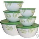 Corelle Bamboo Leaf 12 Piece Bowl Set NEW Enamel Steel